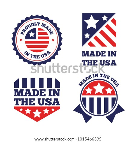 Vector set of made in the USA labels and badges on white background