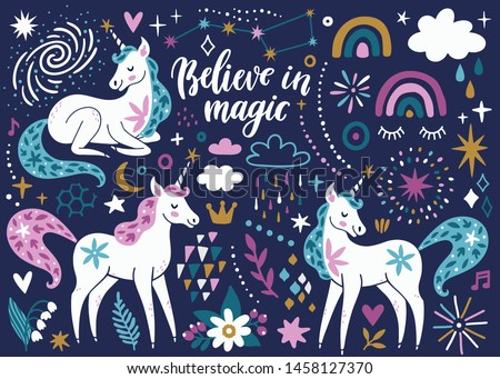 """Vector set of magical icons: unicorns, rainbow, clouds, flowers, stars and sparkles. Cute childish poster with fairytale animals. Cartoon unicorns. Background with hand written text """"Believe in magic"""""""