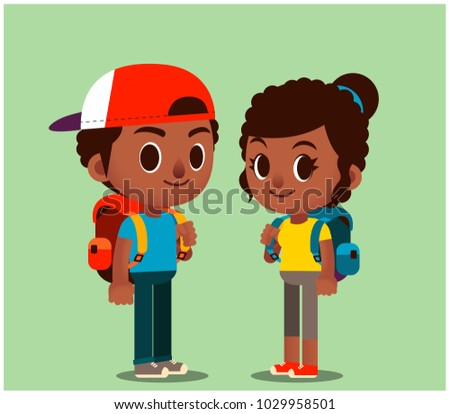 Vector set of male and female tourist with backpack