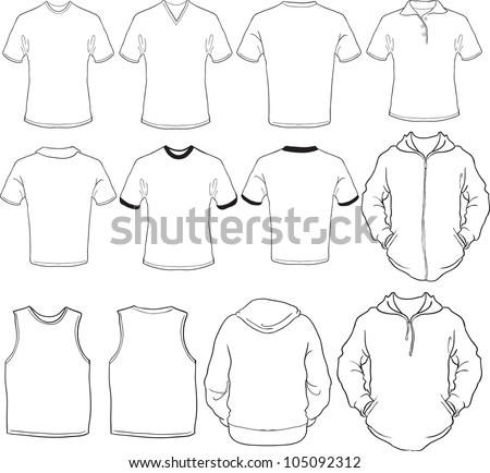 Blank Clothing Design Templates vector set of male shirts