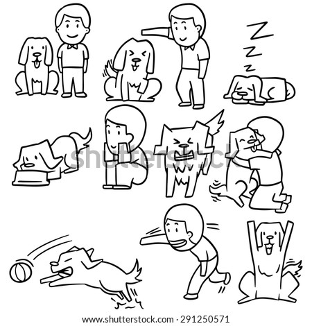 vector set of man and dog