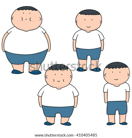vector set of man from fat to