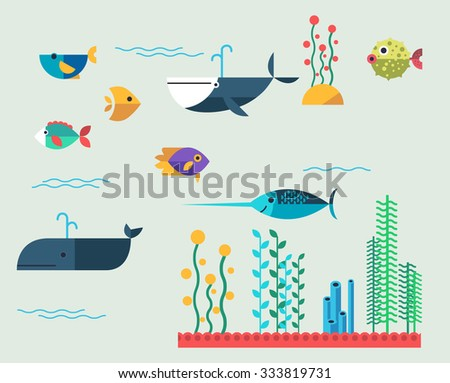 vector set of marine animals