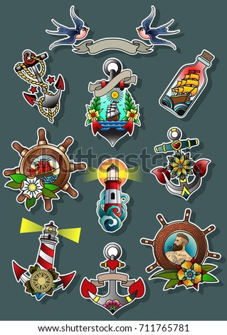 Vector Set of Marine Attribute. Traditional Tattoo Art