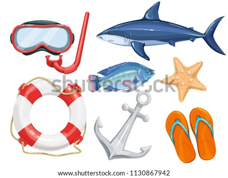 Vector set of marine beach objects. Mask for diving, life ring, flapping, anchor and shark in cartoon style.