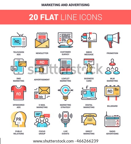 Vector set of marketing and advertising flat line web icons. Each icon with adjustable strokes neatly designed on pixel perfect 64X64 size grid. Fully editable and easy to use.