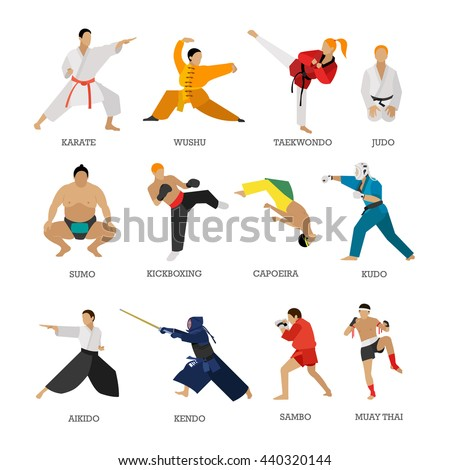Vector set of martial arts people silhouette isolated on white background. Sport positions. Design elements and icons. Martial arts fighters.