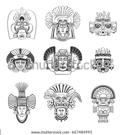 vector set of mask and deity of