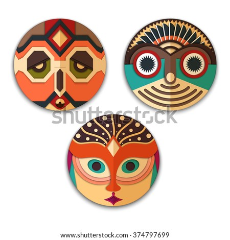 vector set of mask  hippie with