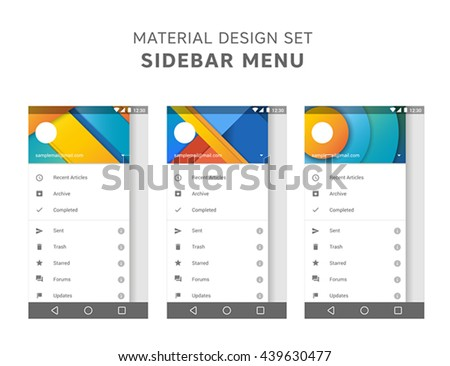 Vector set of material design sidebar menu templates. Mail agent ui elements. User interface design. Android gui. Marshmallow