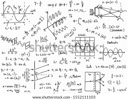 Vector set of mathematical formulas and solutions to problems and equations.  Background texture of homework of a student, topic radiation. Vector image of algebra and geometry tasks.