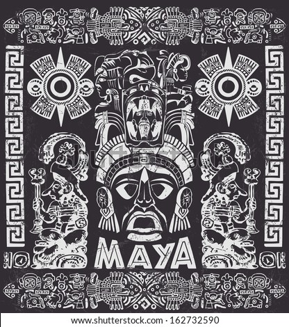 vector set of mayan motifs