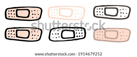 vector set of medical band-aids in different versions. hand-drawn outline of black and flesh-colored doodle-style band-aid, isolated elements on white phong for packaging design template Сток-фото ©