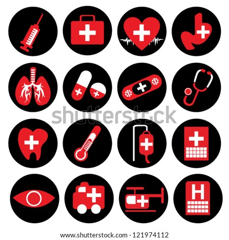 Vector : Set of Medical Icon on Circle Black Button Isolated on White Background