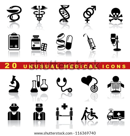 vector set of medical icons and symbol