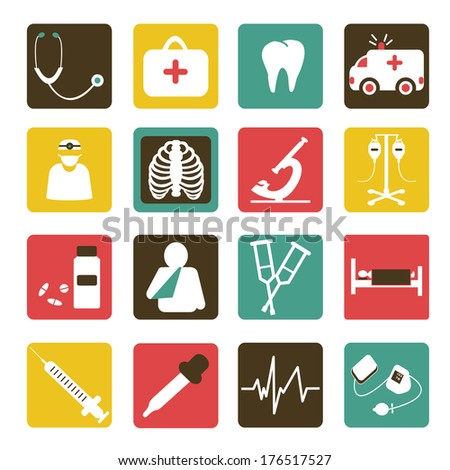 Vector set of medical icons flat design white color