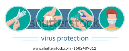 Vector set of medical icons.Virus protection: gloves, soap, antiseptic, mask. Anti-virus infographics safety rules.