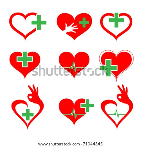 vector set of medical icons with heart and cross