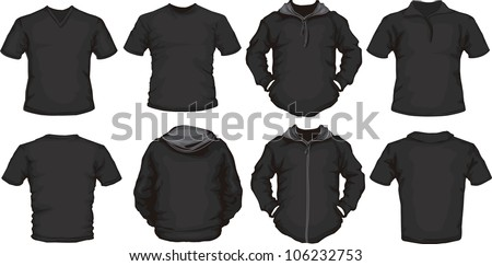 vector set of men's shirts template in black front and back design check out my portfolio for different t-shirt templates
