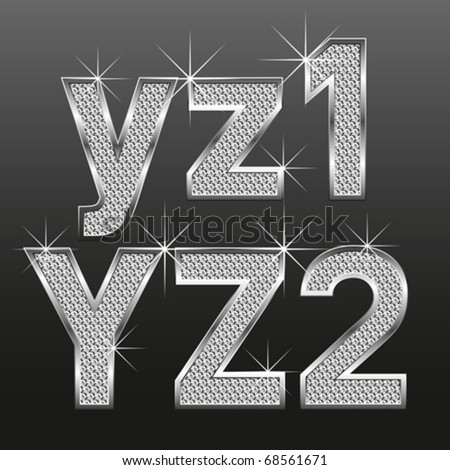 vector set of metal diamond letters and numbers big and small