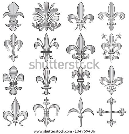 Vector set of metal Fleur-de-lis on white
