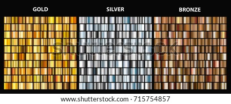 Vector set of metallic gradients.Collection of gold,silver and bronze backgrounds.