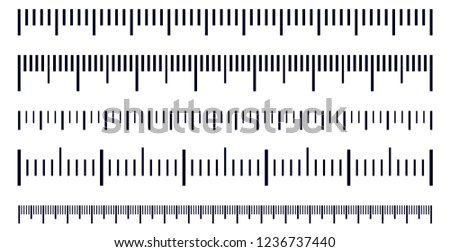 Vector set of metric rulers in flat style. Measuring scales.