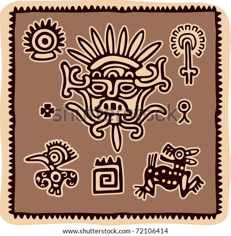 Vector Set of Mexican Design Elements (aztec, american indian)