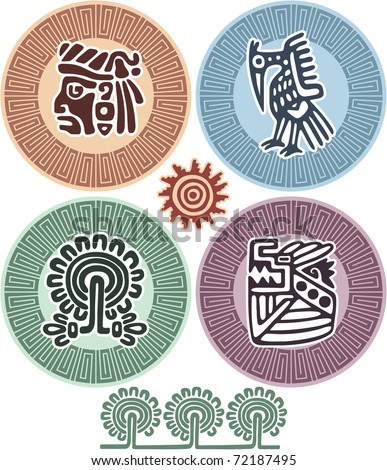 Vector Set of Mexican Design Elements (aztec, icons, american indian)