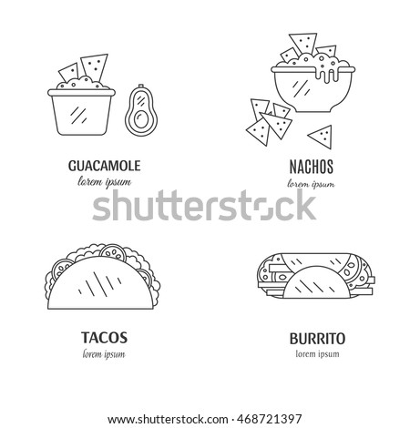Vector set of mexican  food in linear style. Mexican national traditional food with name isolated on white background. Perfect logo design.