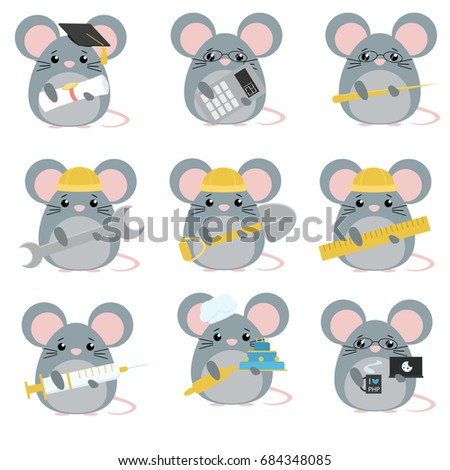 Vector set of mice various professions: Scientist, accountant, teacher, engineer, worker, builder, doctor, baker, programmer. Cute cartoon illustration