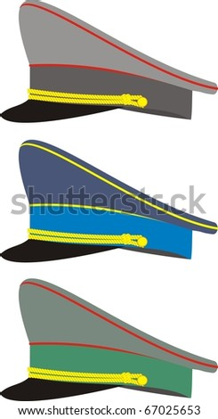 Vector set of military officers' caps - isolated illustration on white background