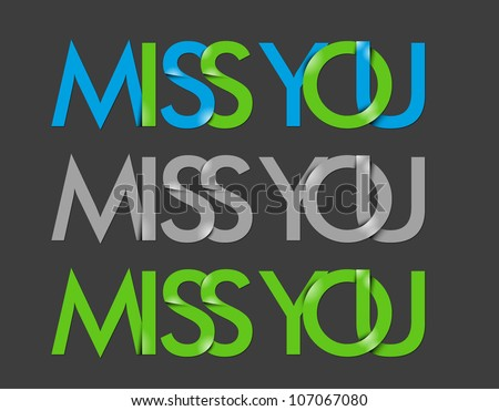 vector set of miss you text design element.