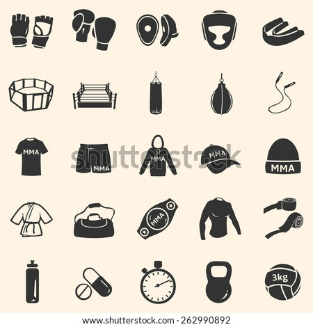 Vector Set of Mix Martial Arts Icons. MMA Icons.  Boxing, Kick Boxing, Thai Boxing, Wrestling, Grappling, Cross Fit. Fighting, Training and Competition.