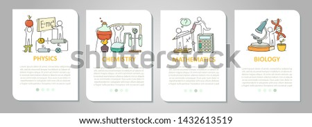Vector set of mobile app onboarding screens about education. Cartoon cards for school design. Science templates with space for text - physics, biology, math, chemistry.