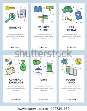 Vector set of mobile app onboarding screens. Booking, Tourist guide, Car rental, Currency exchange, Cafe, Tourist info web templates and banners. Thin line art flat icons for website menu.