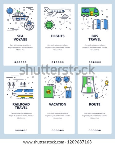 Vector set of mobile app onboarding screens. Sea voyage, Flights, Bus and railroad travels, Vacation, Route web templates and banners. Thin line art flat icons for website menu.