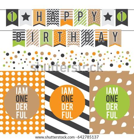 Vector set of modern colorful garland for celebration of 1 years old child Birthday. Happy Birthday garland. Zdjęcia stock ©