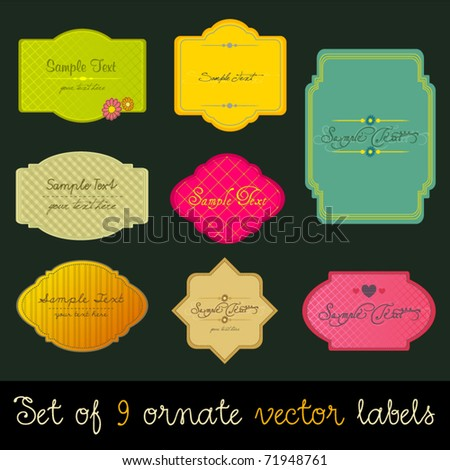 Vector set of modern, elegant colorful labels