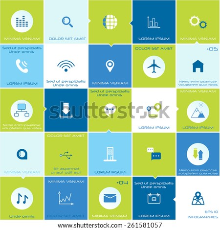 Vector set of modern flat and linear  infographic icons.  Social media elements for mobile and web applications.
