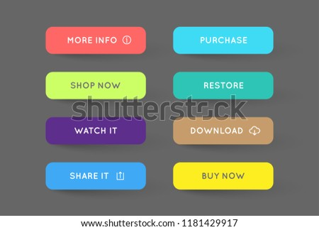 Vector Set of Modern Flat App or Game Buttons. Trendy flat colors with shadows. #1181429917