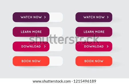 Vector Set of Modern Flat App or Game Buttons. Trendy flat colors with shadows. #1215496189