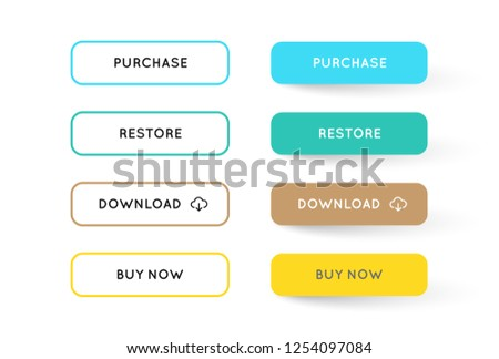 Vector Set of Modern Flat App or Game Buttons. Trendy flat colors with shadows. #1254097084