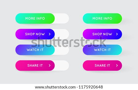 Vector Set of Modern Gradient App or Game Buttons. Trendy gradient colors with shadows. #1175920648