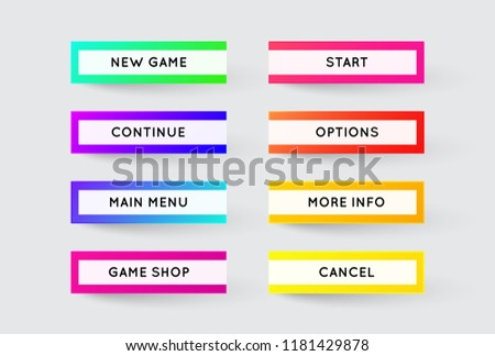 Vector Set of Modern Gradient App or Game Buttons. Trendy gradient colors with shadows. #1181429878
