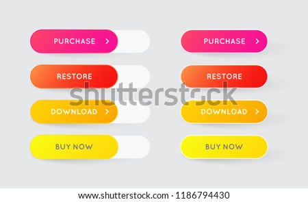 Vector Set of Modern Gradient App or Game Buttons. Trendy gradient colors with shadows. #1186794430