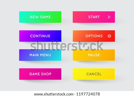 Vector Set of Modern Gradient App or Game Buttons. Trendy gradient colors with shadows. #1197724078