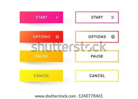 Vector Set of Modern Gradient App or Game Buttons. Trendy gradient colors with shadows. #1240778461