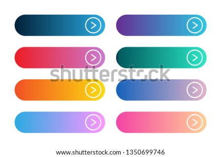 Vector set of modern gradient app or game buttons. User interface web button with arrows. #1350699746