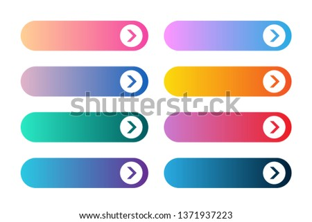 Vector set of modern gradient app or game buttons. User interface web button with arrows.
